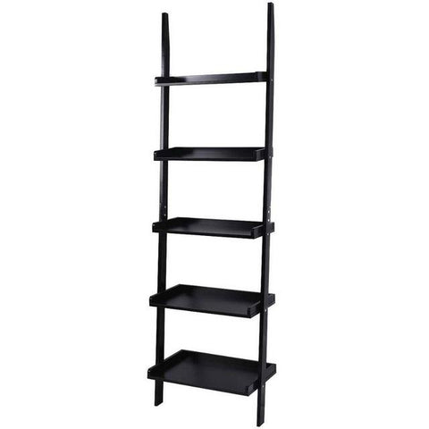 $110.48- Goplus White 5Tier Bookcase Bookshelf Leaning Wall Pants Shelf Ladder Storage Display Furniture Home Wall Cabinet Hw51811