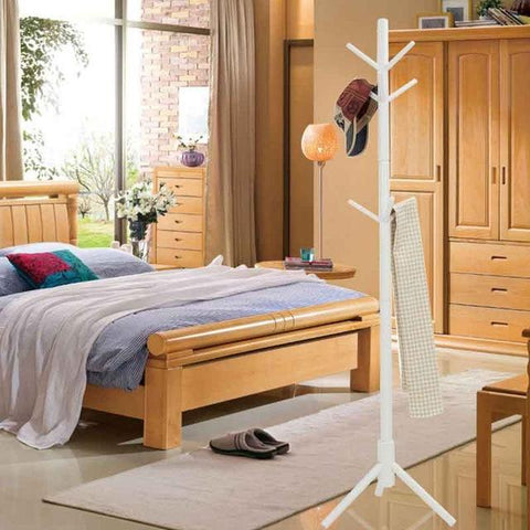 9 Hooks Solid Wooden Clothes Rack Coat Rack Racks Creative Furniture Clothes Racks Wooden Hangers Round Sticks Clothes Shelf