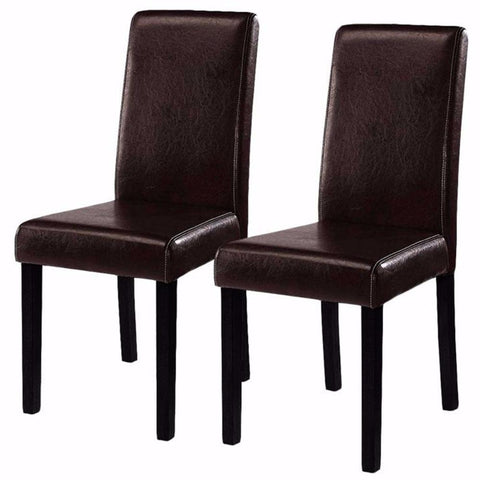 $107.08- Goplus 2 Pieces Set Modern Dining Chairs Black Brown Leather Home Furniture Elegant Design Contemporary Dining Chair HW51327