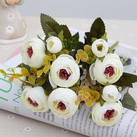 $3.96- 10Heads/1 Bundle Silk Tea Roses Bride Bouquet For Christmas Home Wedding New Year Decoration Fake Plants Artificial Flowers
