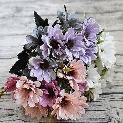 10Heads/1Bundle Silk Daisy Bride Bouquet For Christmas Home Wedding New Year Decoration Fake Plants Sunflower Artificial Flowers