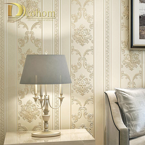 $57.42- Modern Luxury Homes Decor European Striped Damask Wallpaper For Walls Bedroom Living Room Embossed Grey Beige Wall Paper Rolls