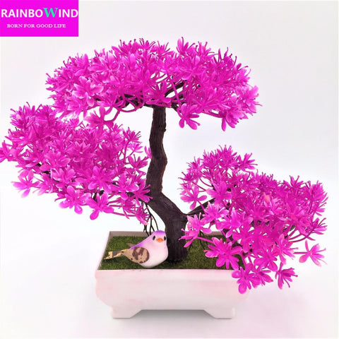 $9.11- 1Pc Christmas Tree Sakura Emulate Bonsai Wedding Decorative Artificial Flowers Fake Pot Plants Ornaments Barthroom Home Decor