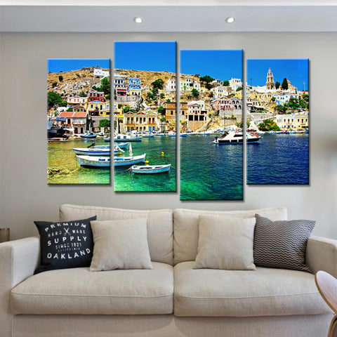 $18.70- 4 Pieces Dropshipping Coastal City Canvas Painting Landscape Home Decor Art Nordic Posters Prints For Living Room No Frame