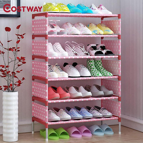 $43.18- COSTWAY Nonwoven 5 Tier Shoes Rack Shoe Cabinets Stand Shelf Shoes Organizer Living Room Bedroom Storage Furniture W0112