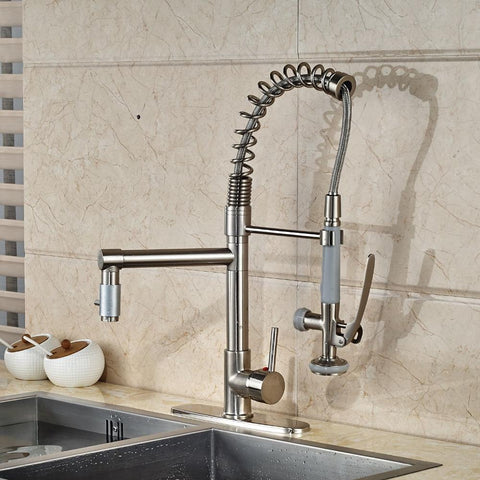 $126.62- Kitchen Faucet Nickel Brushed Swivel Spout Mixer Tap 8'' Hole Cove Plate