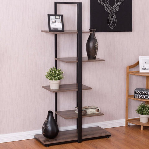 $101.98- Goplus 5 Tiers Bookcase 60 Modern Open Concept Display Etagere Living Room Shelf Bookshelf Storage Display Furniture Hw56037