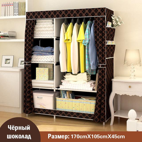 $91.12- Simple modern large speace wardrobe Clothe storage cabinets Folding Nonwoven closet Furniture wardrobe for Bedroom