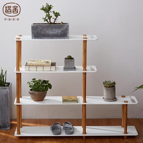 $504.05- Zen'S Bamboo Storage Shelf Rack Book Shelves Office Bookcase Furniture Wooden Plant Display Shelf Bedroom Living Home Funiture
