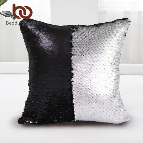 $8.76- Beddingoutlet Mermaid Sequin Cushion Cover Magical Shining Pillow Case Patchwork Decorative Pillowcase Stylish Sofa Car 40X40Cm