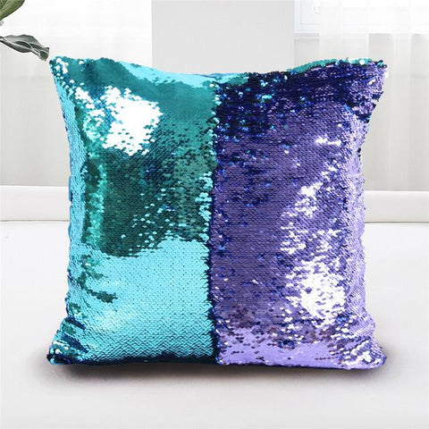 $8.76- Beddingoutlet Mermaid Sequin Cushion Cover Magical Shining Pillow Case Patchwork Gold Decorative Pillowcase Fashion 40X40Cm