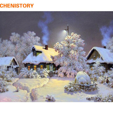 $12.12- Chenistory Frameless Snow House Diy Painting By Numbers Landscape Wall Art Picture Hand Painted Oil Painting For Home Decor Arts