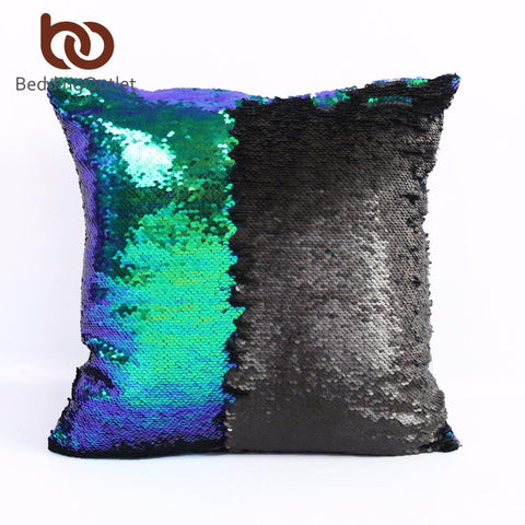 $8.76- Beddingoutlet Mermaid Sequin Cushion Cover Magical Diy Pillowcase Cover 40X40Cm Color Changing Reversible Throw Pillow Case Hot