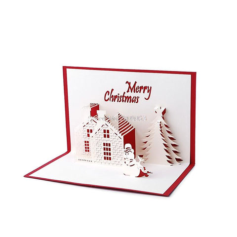 $1.90- Handmade 3D Pop Up Holiday Greeting Cards Christmas Cottage Castle Thanksgiving H06