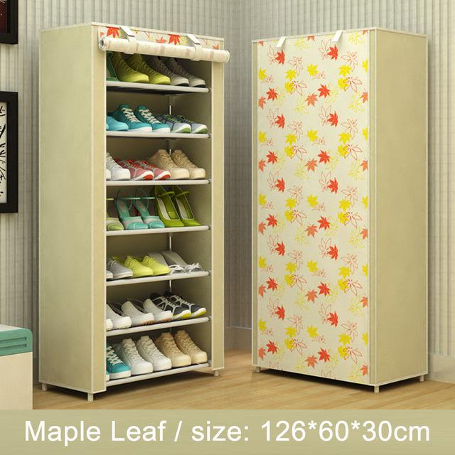 $56.36- Shoe rack 8layer 7grid Nonwoven fabrics large shoe cabinet organizer removable shoe storage for home furniture