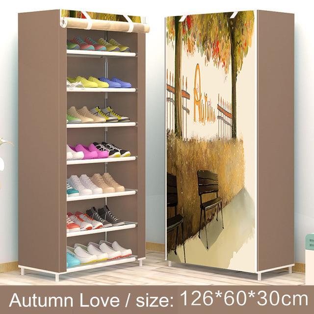 Shoe rack 8layer 7grid Nonwoven fabrics large shoe cabinet organizer removable shoe storage for home furniture