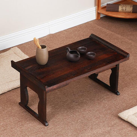 $127.59- Japanese Antique Tea Table Folding Legs Rectangle 60Cm Paulownia Wood Traditional Chabudai Asian Furniture Living Room Low Table