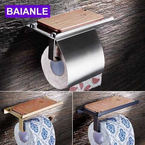 $20.70- Baianle Toilet Roll Paper Holder Wall Mount Stainless Steel Bathroom Tissue Holder W/ Mobile Phone Storage Shelf Rack