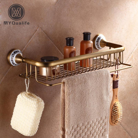 $114.24- Wall Mounted Rectangle Bathroom Cosmetic Rack Shower Shampoo Shower Gel Shelf Antique Brass