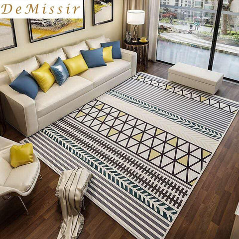 $104.79- Large Europe Simple Geometric Pattern Rectangle Carpet Parlor Living Room Mats Bedroom Chair Rugs Home Hotel Use Decorate