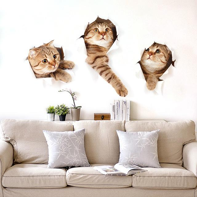 $3.80- 3D Cat Wall Sticker Hole View Vivid Living Room Home Decor Wall Decals Cat Wall Sticker Cute Cat poster Sticker Free shipping