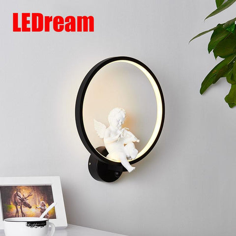 $59.40- Creative Nordic Angel Led Wall Lamp Wall Lamp Sitting Room Contemporary Contracted Study Children Warm Gift Marriage Lamps