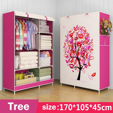 $73.58- 3D painting Wardrobe Nonwoven Steel pipe Assembly Storage Organizer Detachable Clothing bedroom furniture closet