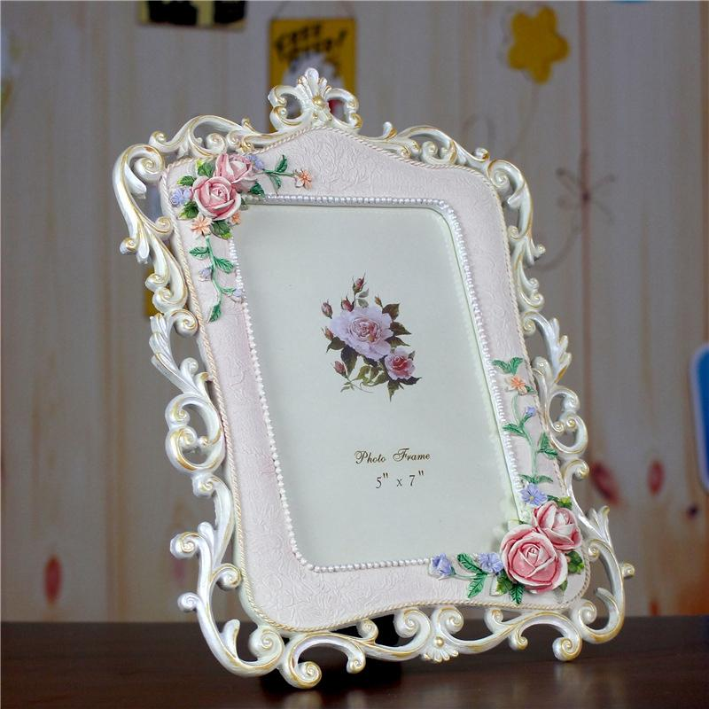 Europe Style Photo Frame Porta Retrato Modern Flower Pattern Home Resin Crafts Picture Frame Living Room Decoration Cadre Photo