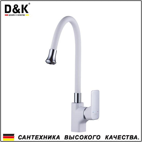 $126.62- D&K Kitchen Faucets White Chrome Brass Single Handle 720 Degree Rotation Hot and cold water tap DA1432916