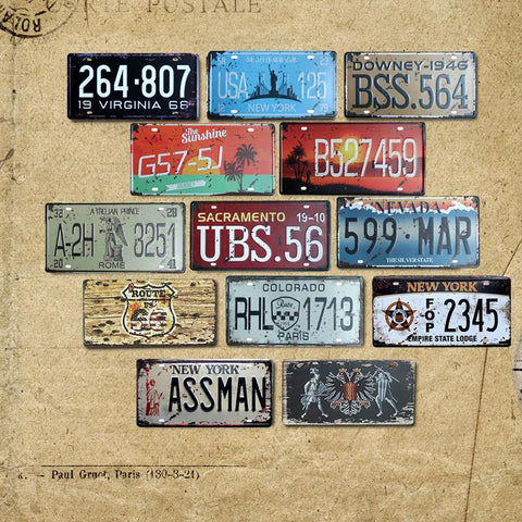 $7.52- Vintage Metal Tin Sign Car Number License Plate Shabby Chic Plaque Wall Poster Bar Cafe Garage Home Decor A917