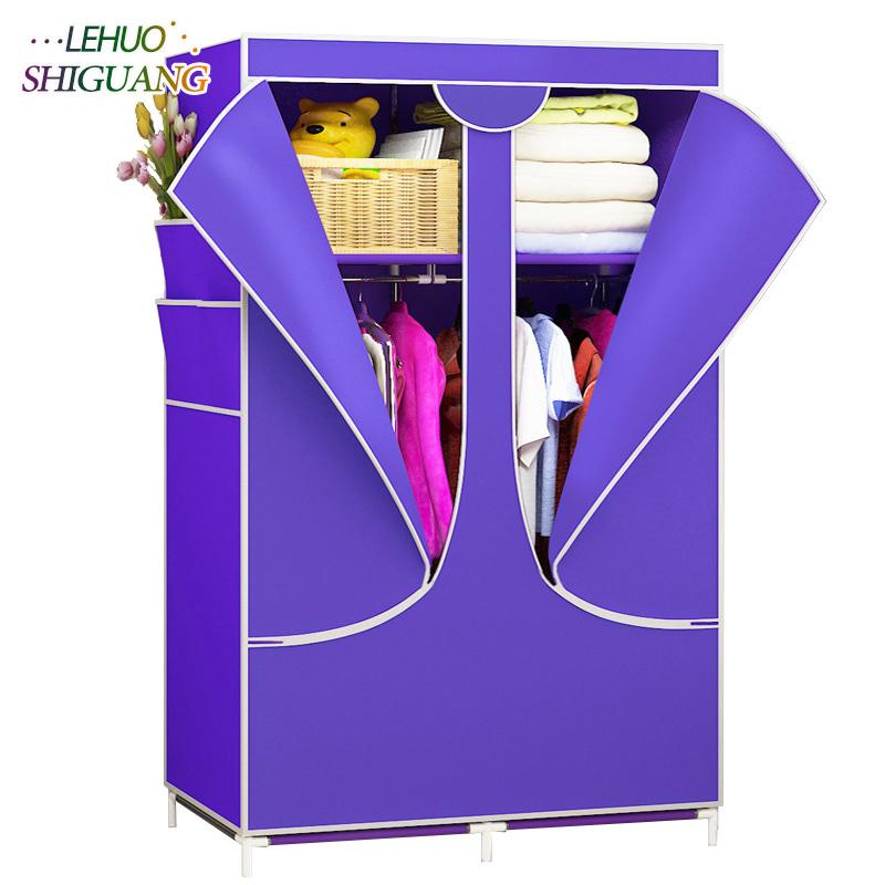 New Wardrobe zipper Nonwoven Fabric Steel frame reinforcement Standing Storage Organizer Detachable Clothing Closet furniture