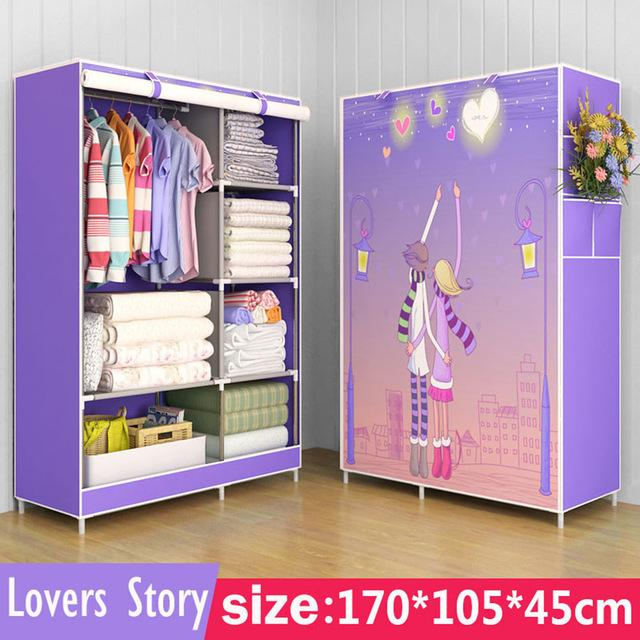 $73.58- 3D painting Wardrobe Nonwoven Fabric Steel frame reinforcement Standing Storage Organizer Detachable Clothing bedroom storage w