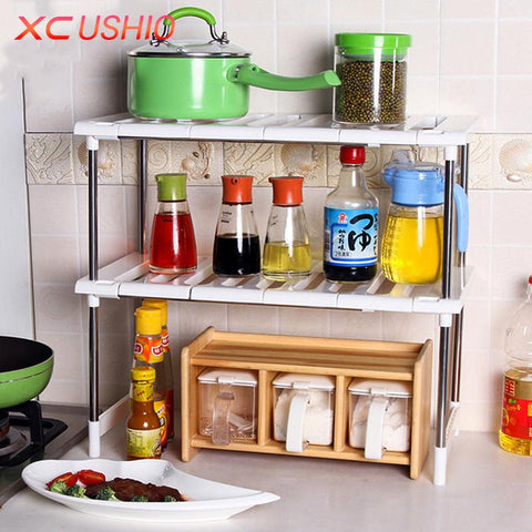 $60.34- Multifunctional Adjustable Stainless Steel Kitchen Shelf Bathroom Storage Rack Double Layer Telescopic Home Storage Holder