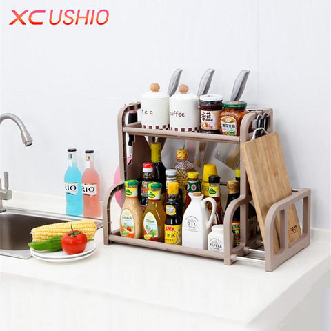 MultiFunction Kitchen Shelf Stainless Steel Rack Condiment Knife Chopping Board Shelf Double Layer Kitchen Storage Holder