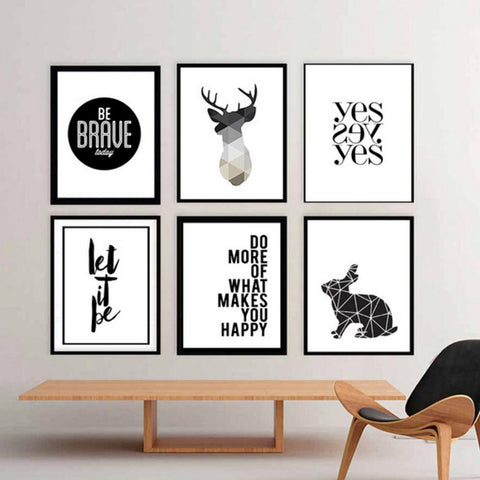 Minimalist Geometric Deer Canvas Painting Black White Poster Print Nordic Wall Art Pictures For Kids Living Room Home Decor