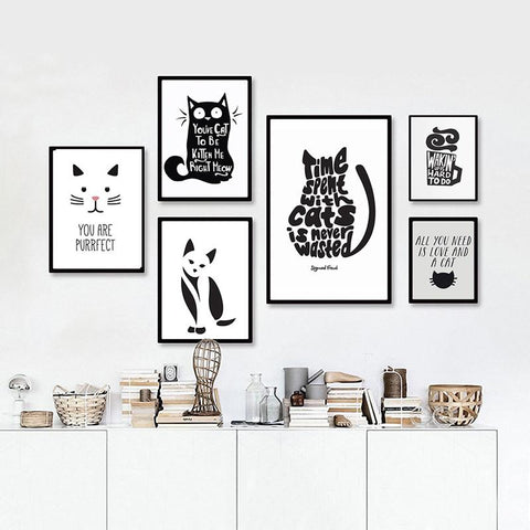 Abstract Cat Quotes Canvas Printings Black White Animals Posters Prints Nordic Wall Art Pictures For Living Room Home Decor