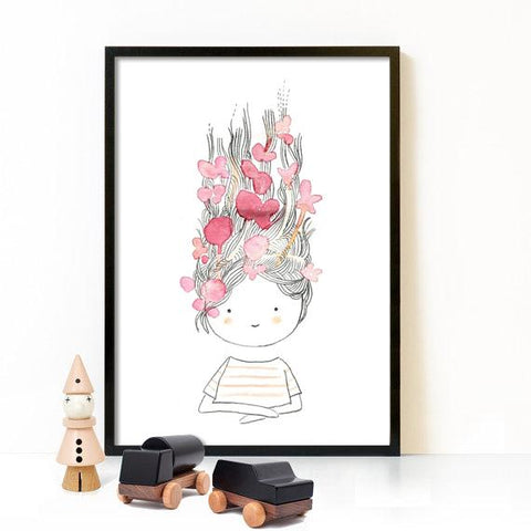 Nordic Style Kids Decoration Wall Art Canvas Painting Hello Beautiful Kids Room Nursery Cartoon Paintings Art Poster Unframed