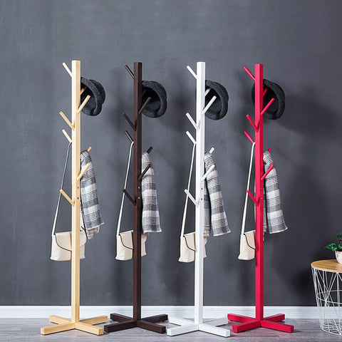 8 Hooks Solid wood simple fall coat racks simple clothes hanger fashion clothes rack living room accommodating bedroom hangers