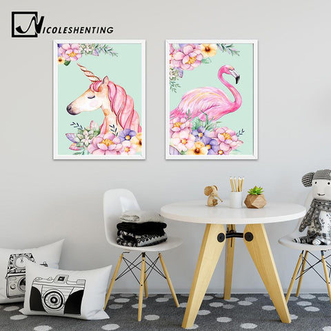 Flower Unicorn Flamingo Poster Print Watercolor Animal Painting Wall Art Decorative Picture Nordic Style Kids Decoration