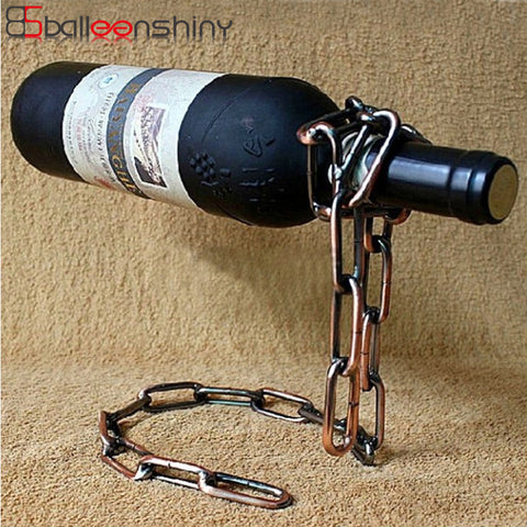 $24.84- Balleenshiny Magic Iron Chain Wine Racks Bottle Stand Holder Handmade Plating Wine Shelf Display Gift Bar Accessories Tableware