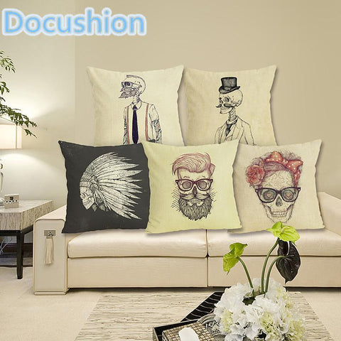$6.76- Fashion Nordic Style Variety Skull Head Cushion Cover Sea Whale Home Pillow Case Linen Cotton Pillows Covers Cojines