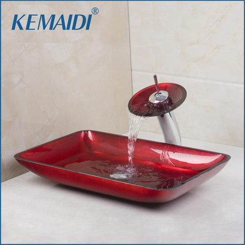 KEMAIDI Red Rectangular Victory Hand Paint Washbasin Tempered Glass Basin Sink W/ Brass Faucet Bathroom Sink Set 40181