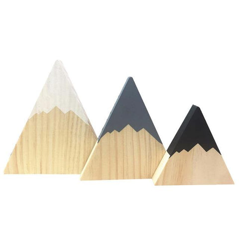 $20.48- 3pcs/set INS Nordic Forest Woodland Wooden Mountain Blocks Decoration Kid's Bookend Kid's Room Desktop Home Decoration