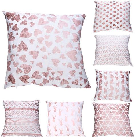 Ishowtienda Polyester Cushion Cover Pink Pattern Merry Christmas Home Decorative Pillowcase Cover Nordic Cushion Case Sofa Decor