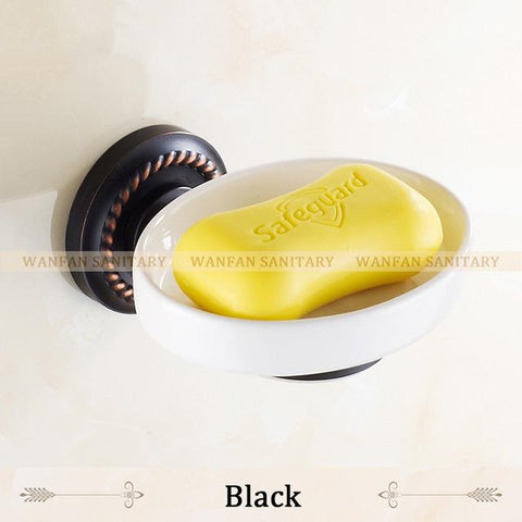 $43.20- Soap Dishes Antique Brass Soap Holder Bath Shelf Soap Dispensers Storage Wall Bathroom Accessories Black Soap Stand Hj1305