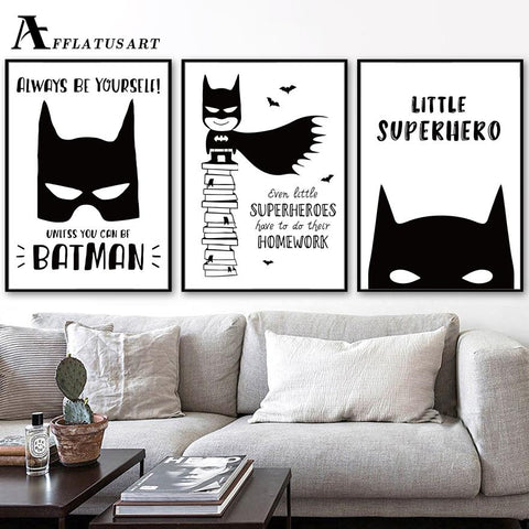 $7.51- Afflatus Batman Superhero Mark Canvas Painting Wall Art Posters Prints Nordic Poster Wall Pictures For Kids Room Home Decor