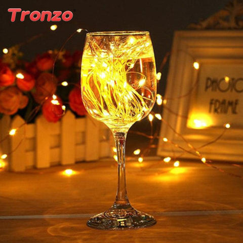 $3.55- Tronzo Wedding Decoration Led String Lights 2M 20 Lights Party Favor Copper Wire Light For Wedding Table Centerpiece Supplies