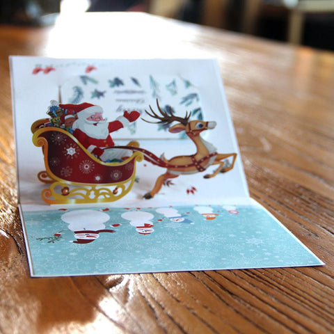 $7.08- 3D Pop Up Cards Merry Christmas Customized Logo Greeting Postcards Thanksgiving Day Gifts Cards Vintage Colourful Santa Ride