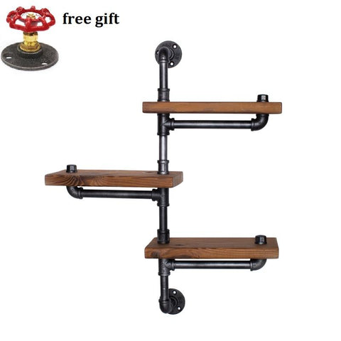 $163.18- Wood Size 30*13.5Cm American Retro Iron Pipe Racks Solid Wood Shelf Bookcase Shelves Display Industrial Pipes Shelves RacksZ22