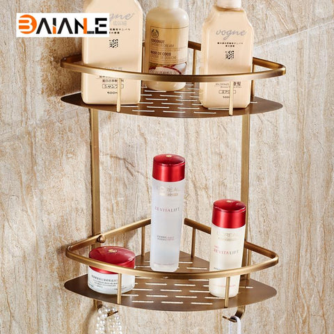 $47.70- Antique Copper Double Wall Mount Corner Shower Shampoo Soap Cosmetic Storage Shelf Bathroom Shelves
